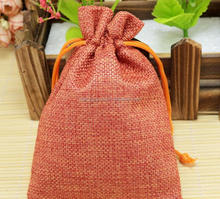 10*14cm Jute Burlap Christmas Gift Bags Pouches With Cotton Drawstring