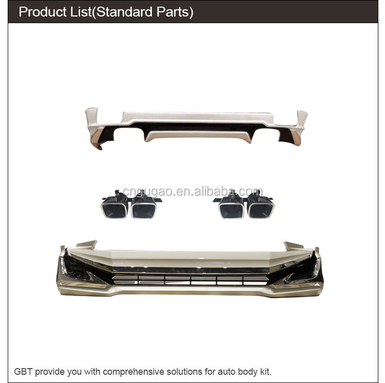 GBT car parts include front and rear bumpers with LED lights and decoration exhaust pipe body kit for 2018 Prado modellista