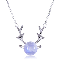 CYMO 2018 new fashion simple 925 silver antler necklace with moonstone pendant deer horn necklace for women girls