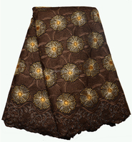 Unique Brown China Swiss Voile Lace, Africa Big Dry Lace Fabric For Garments, Beautiful Embroidery Cotton Lace Fabric XZ39752L-2