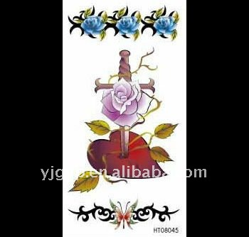 2012 Hot! Free sample!Eco-friendly temporary sword and flower series tattoo stickers