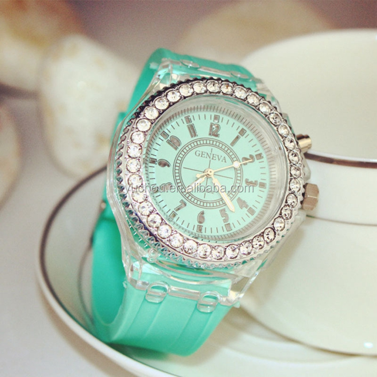 GENEVA Led Luminous Fashion Diamond Silicone Strap Gift Watch