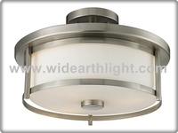 UL CUL Listed Brushed Nickel Ceiling Plate Drum Lighting With Glass Shade C50391