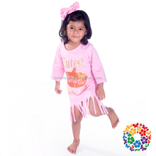 Pink Knit Cotton Tassels Cutest Pumpkins frock design for baby girl