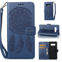 PU Leather Embossed Aeolian BellsTPU Cover Wallet Card Slots hand rope Mobile Phone Case for Samsung Galaxy Note8
