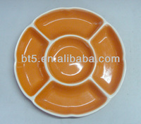 microwave ceramic round divided snack plate