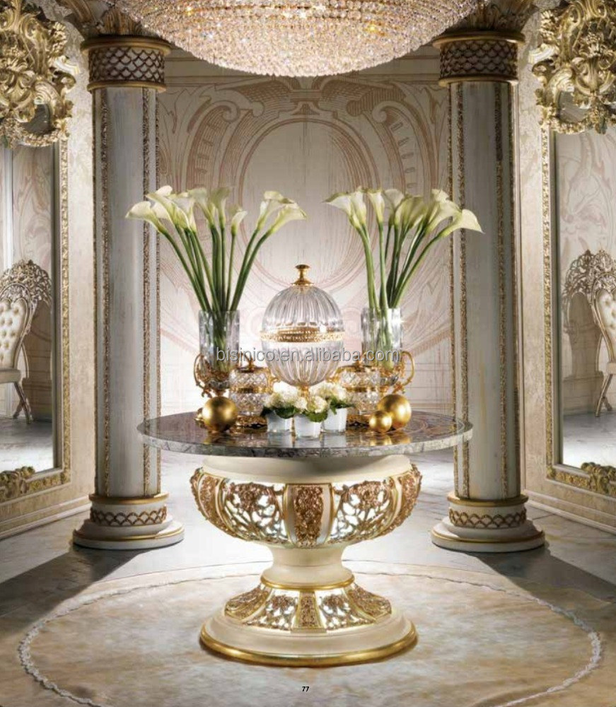 Ornate Inlaid Marble Round Dining Table, Brass Mounted Lantern Design Pedestal Round Dining Table with Light