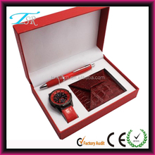 fashion hot selling wallet and pen watch gift set/ladies watch set/gift watch set