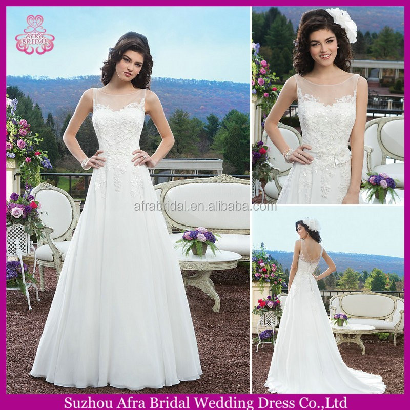 SD2159 sheer top sweetheart neckline chiffon country western wedding dress