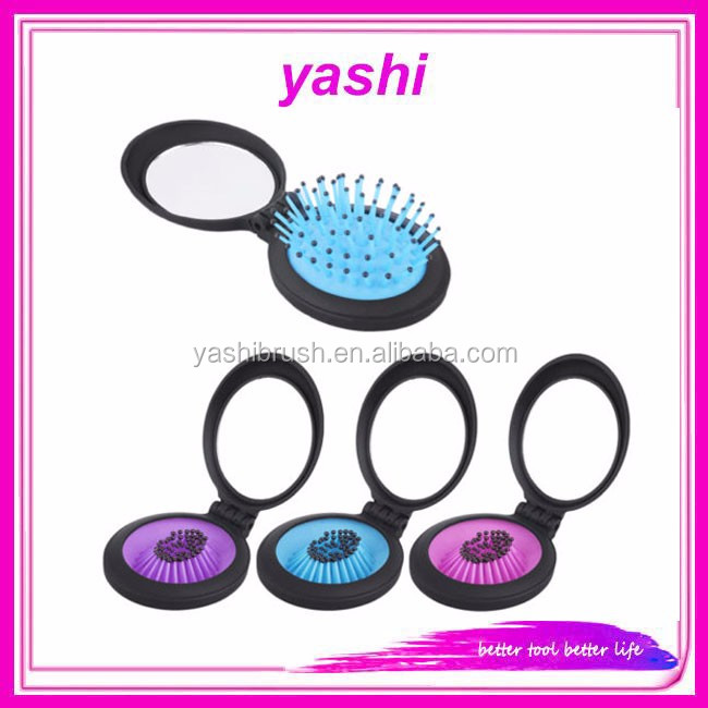 YASHI 2 in 1 Round Design Massage Comb Hair Brush Hairdressing Tool With Mirror