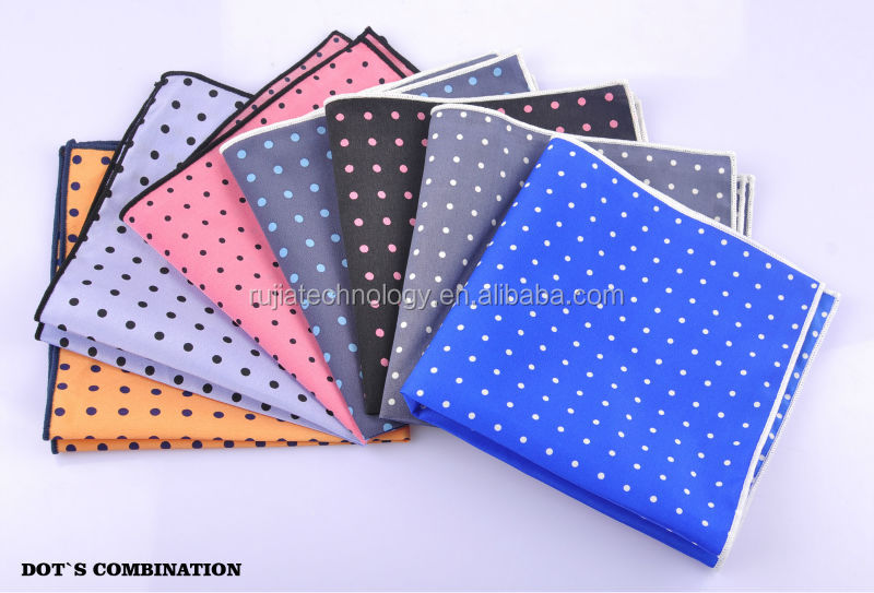 fashion small dots polyester pocket square for men