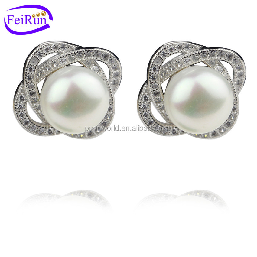 FEIRUN 9mm natural freshwater pearl stone earring, simulated pearl stud earring, earring pearl natural