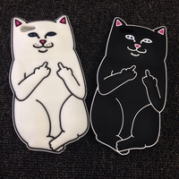 Pocket Cats Silicone Middle finger cat Mobile phone case For iPhone6 / plus 5s