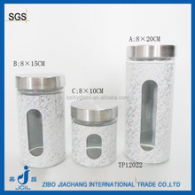 3pcs/set glass canister set with decal printing