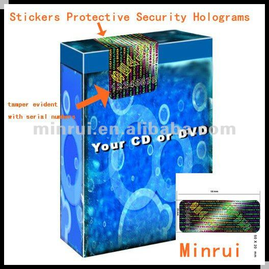 Security Hologram Stickers With Serial Numbers For Your CD And DVD,Custom 3D Hologram Sticker