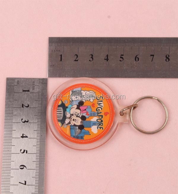 Souvenir round shape plastic acrylic keyring for promotion items