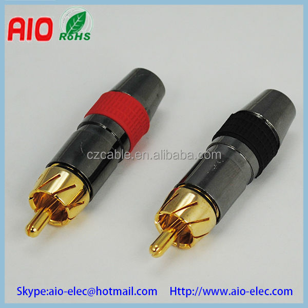 Bulk packing premium RCA plug male jack female socket AV connector with black nickel plated body w