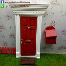 1/12 Scale Miniature Red Wooden Fairy Door With Mailbox Fairy Garden Supplies
