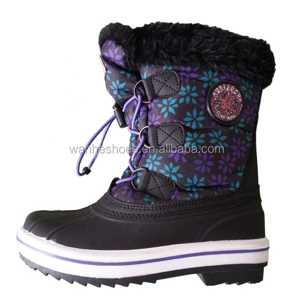 waterproof thermal non-slip children winter boots bean boots