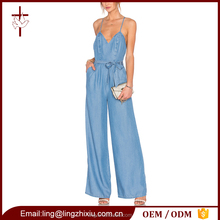 Women blue plus size denim jumpsuit , jean jumpsuit , denim jumpsuit