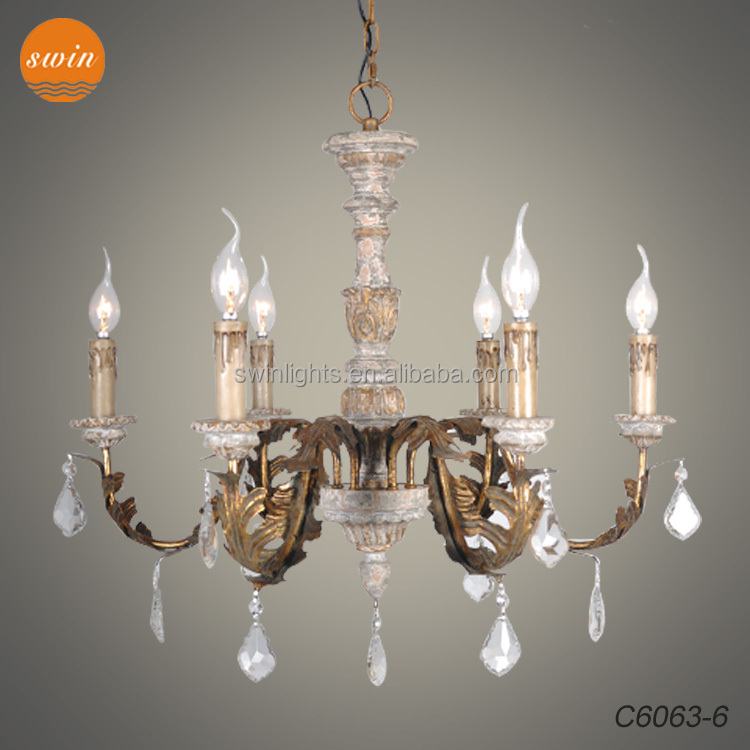 home decor antique gold iron leaf DIY chandelier wood living room candle pendant light cheap in china