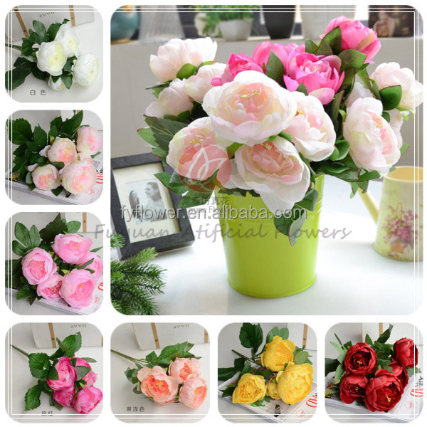 140310 fake fabric flower decorative artificial silk peony wedding flowers wholesale direct import from china factory