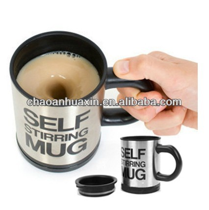 Cheap! Automatic Electric Stainless Steel Coffee Mixing Cup Self Stirring Mug/Drinking Cup