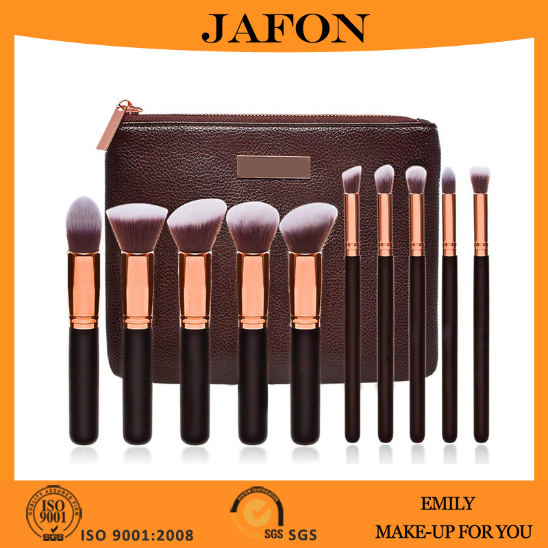 Hot sale 10 pieces brushes set vegan kabuki makeup brush with luxurious PU leather case