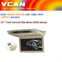 "car roof mount lcd monitor/17"" car flipdown/roofmount/overhead DVD player with DVD+GAME+FM+IR+SD+USB+MP4+DIVX+speaker function"