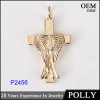 Custom 14k gold cross and wing hollow pendant jewelry 2016