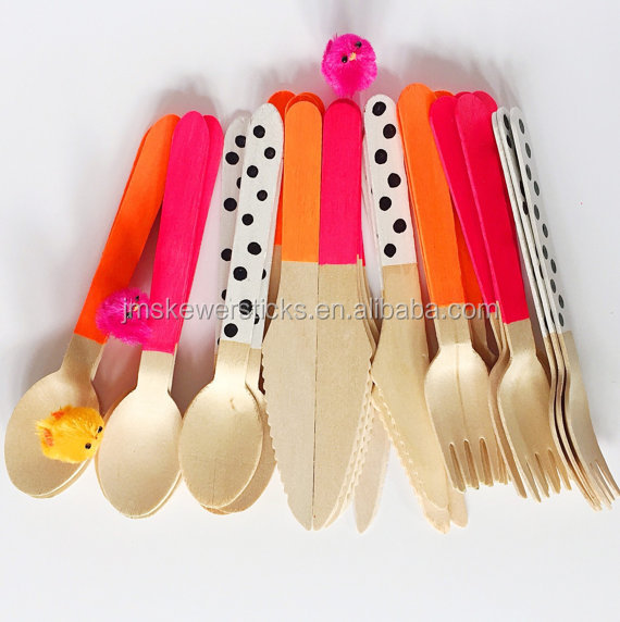 Party Supplier Custom Printed Birch Wooden Disposable Cutlery spoons