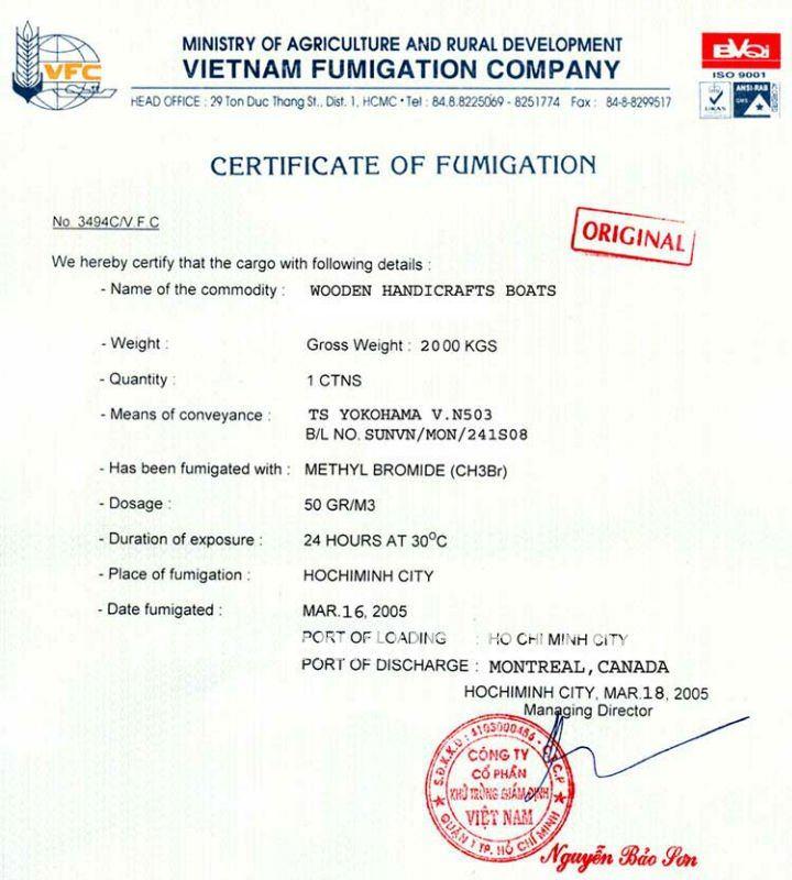 Fumigation Certificate Sample Usa Gallery Certificate