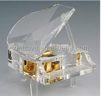 mini clear crystal piano for home decor