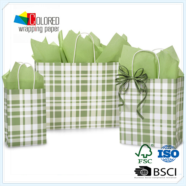 Recycled Plaid Sage Paper bags Feature A Crip Clean Plaid Wholesale