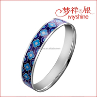 Myshine New Design Enamel Filling Cloisonne Sterling Silver Bangle Bracelet