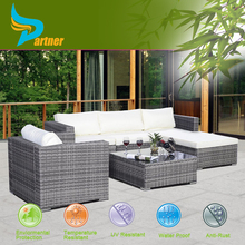 6PC Furniture Set Aluminum Patio Sofa PE Rattan Couch Gray 2 Set Cushion Covers