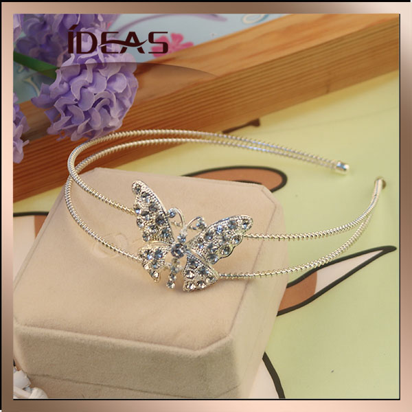 Wholesale sweet charm butterfly diamond crown tiaras for girls and kids