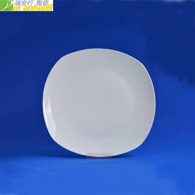 12 Inch square shape ceramic white dinner plate for hotel and home use
