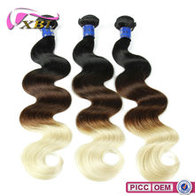 XBL Wholesale Unprocessed 7A Hair Weave Blonde And Brown