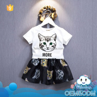 2016 New design clothes cute cat cartoon design children summer baby girl clothes casual outfit leisure dress clothing set