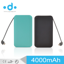 High quality 4000mAh li-polymer battery leather case power bank