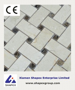 Hexagon Shape White Marble mosaic on sale