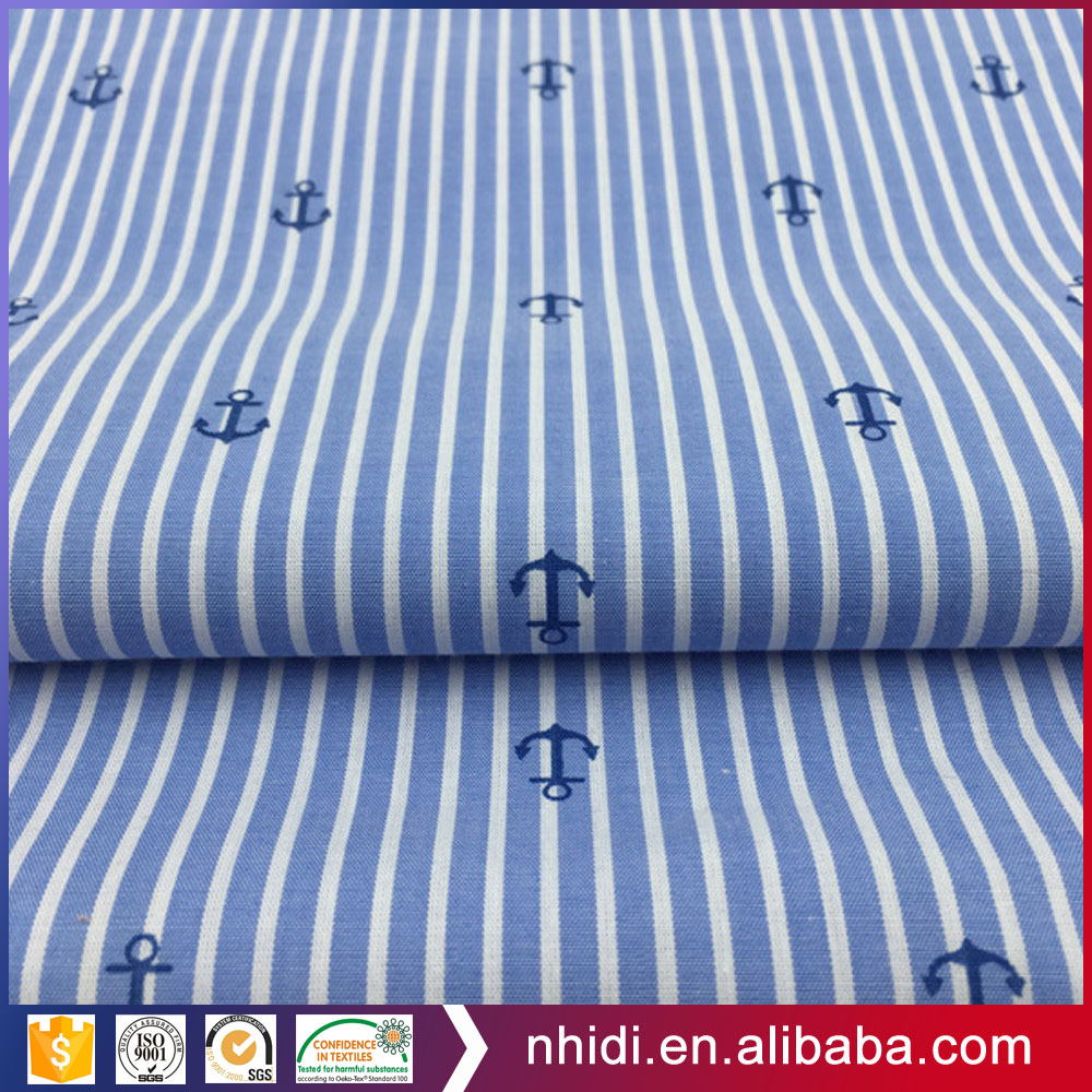 Navy style yarn dyed tc 65/35 boat anchor fabric printed for casual shirt