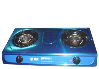 Household Stainless Steel Biogas Stove Double Burner