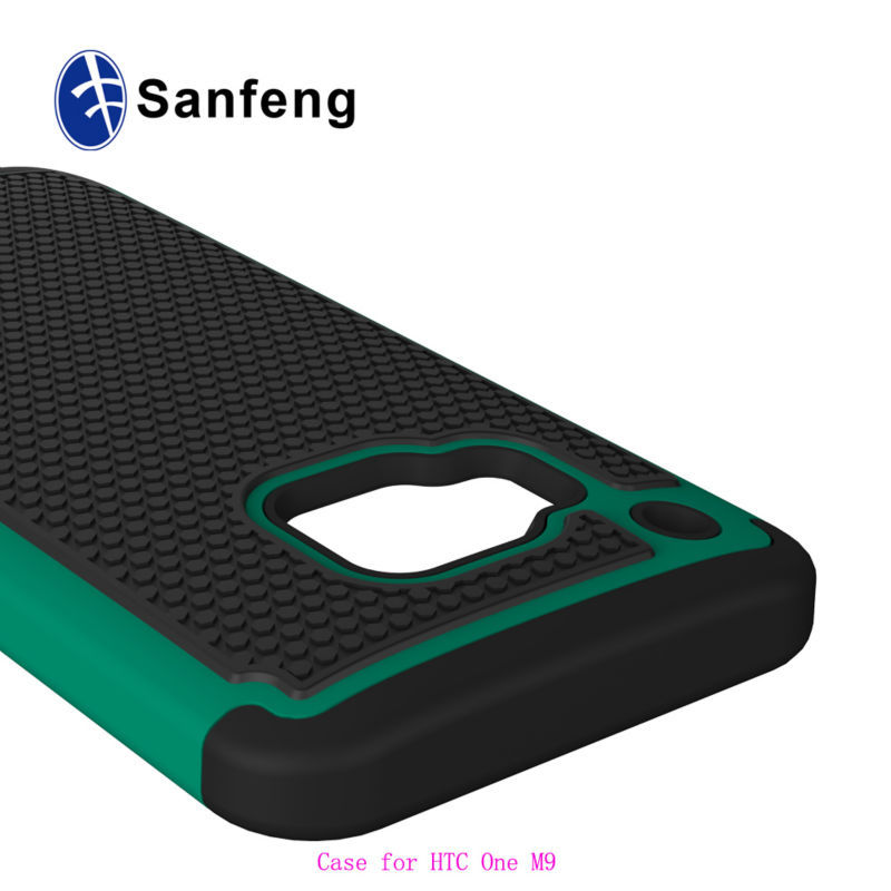Low price high quality soft silicone combined with hard pc soft tpu hybrid cell phone case for HTC ONE M9