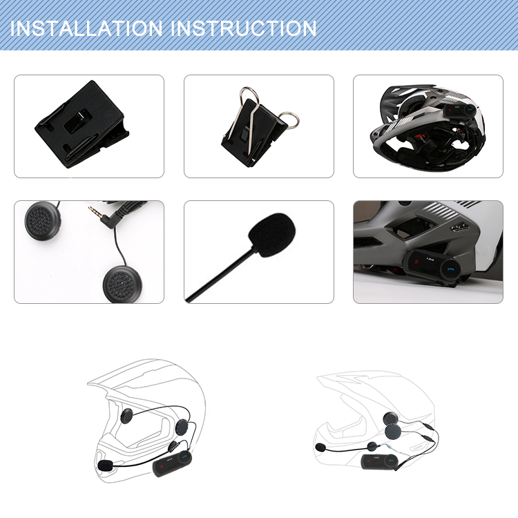 2 Riders 1500m Motorcycle BT Helmet Intercom with Stereo Headset