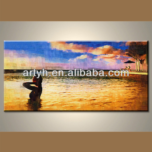 Handmade Modern Seascape Painting Home Decor With Frames On Canvas