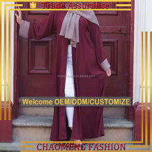 1503# Simple Plain Exclusive Beautiful Plus Size Women Islamic Clothing For Muslim Ladies Slim Fit Front Open Kimono Abaya