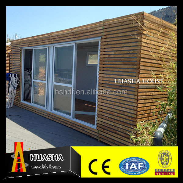 luxury mini container house with exterior wall decoration of wood for sale