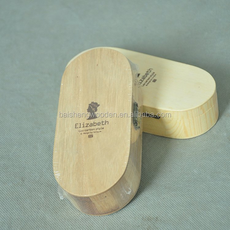 Custom multifunction oval shaped wooden pencil box